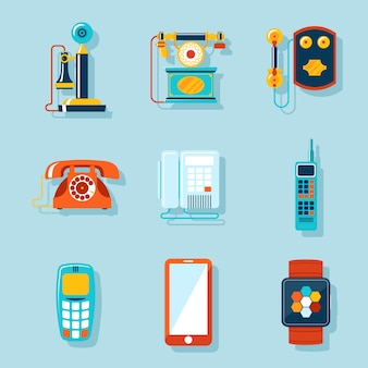 Juego de teléfono plano. retro y pantalla táctil, pantalla digital y gadget, teléfono y comunicador.