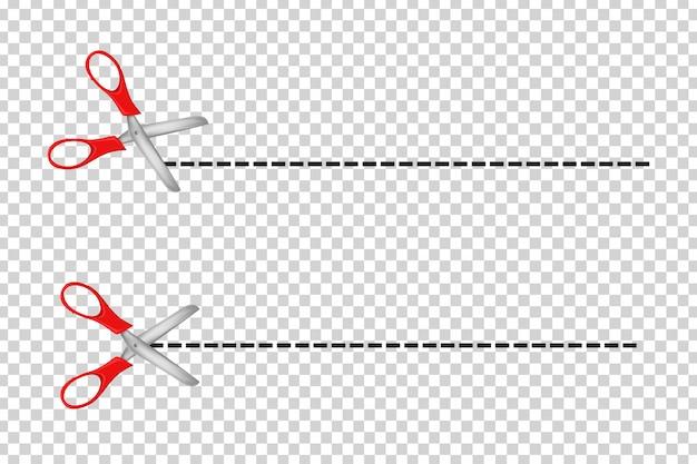 Juego de tijeras realistas cortan líneas para decoración de plantillas en el fondo transparente.