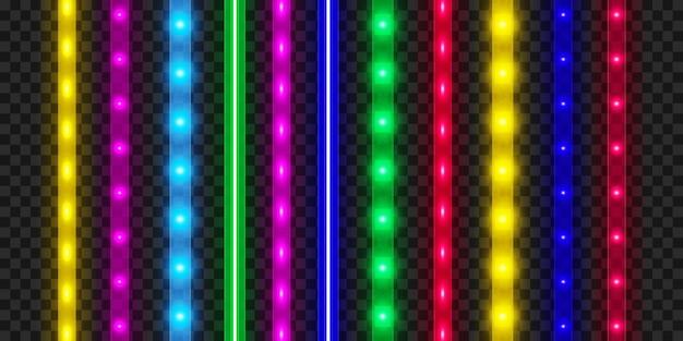 Juego de tiras led. decoración de cinta iluminada brillante colorida. luces de neón realistas.