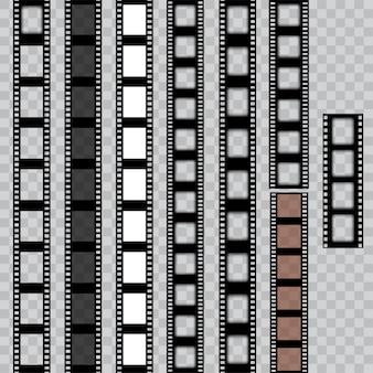 Juego de tiras de película rasgadas gastadas. película negativa de cine. vector.