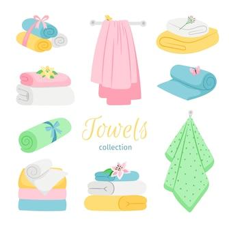 Juego de toallas de baño de colores.