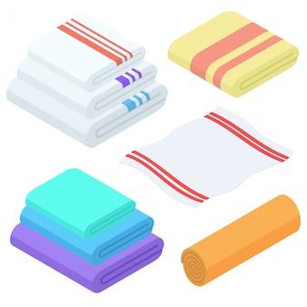 Juego de toallas isométricas de dibujos animados. toalla de tela doblada para baño.