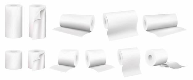 Juego de toallas de papel enrolladas y papel higiénico, vector conjunto realista 3d aislado sobre fondo blanco.