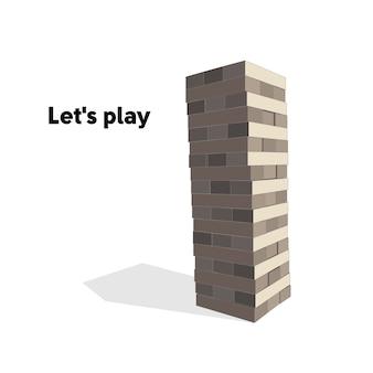 Juego de torre de madera. ilustración