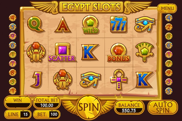 Juego de tragamonedas de casino estilo egipto. interfaz completa de máquinas tragamonedas y botones en capas separadas.