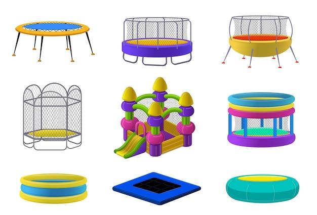 Juego de trampolín. conjunto de dibujos animados de trampolín