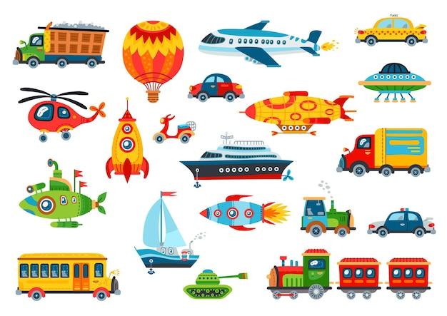 Juego de transporte de juguete grande. colección de portador de dibujos animados brillante bebé aislado