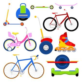 Juego de transporte urbano moderno con bicicletas, patines, segway y onewheel.
