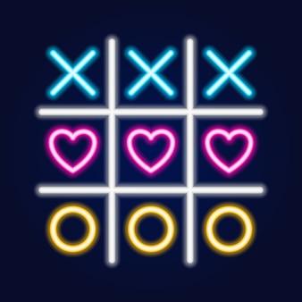 Juego de tres en raya, icono de contorno lineal de neón
