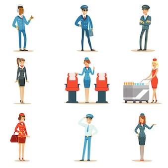 Juego de tripulación de la junta de vuelo comercial de profesionales del transporte aéreo que trabajan en el avión