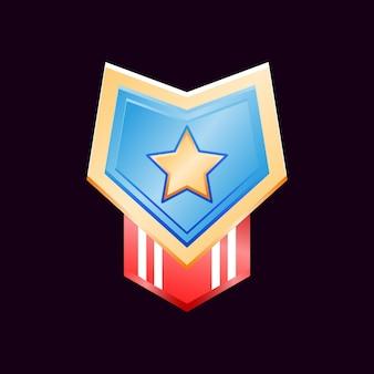 Juego ui medallas de insignia de rango de diamante dorado brillante con cinta de bandera