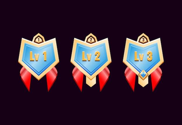 Juego ui medallas de insignia de rango de diamante dorado brillante con cinta roja