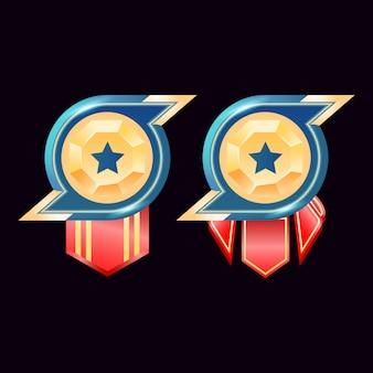 Juego ui medallas de insignia de rango de diamante dorado brillante con estrella