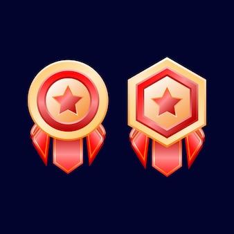 Juego ui medallas de insignia de rango dorado brillante con ilustración de cinta