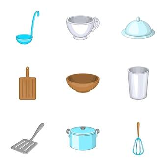 Juego de utensilios de cocina, estilo de dibujos animados