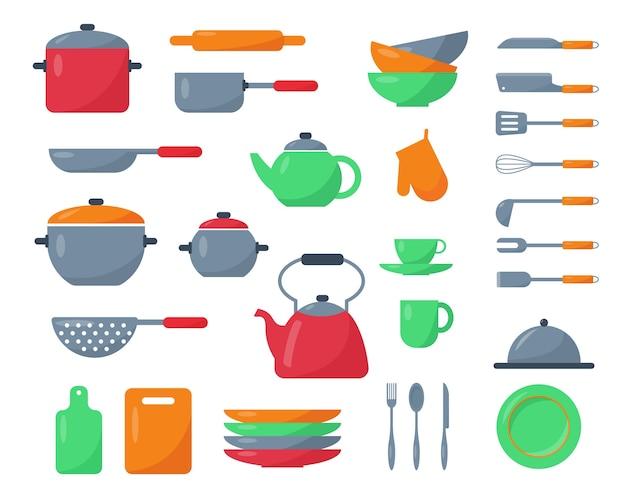 Juego de utensilios de cocina, platos, cubiertos. elementos para cocinar aislados.