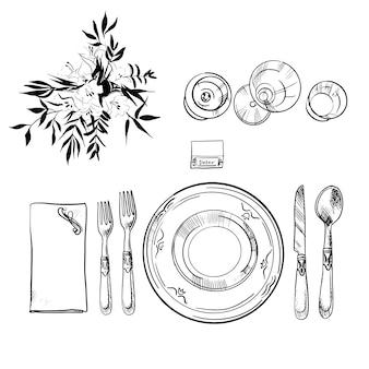 Juego de vajilla para banquetes. ilustración de boceto. ilustración de cuchillo y cuchara, plato y tenedor