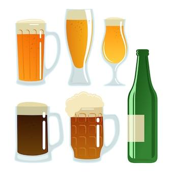 Juego de vasos de cerveza y botella.