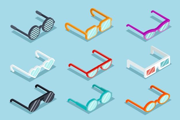 Juego de vasos de vector isométrico. gafas de sol y lentes, objeto óptico, anteojos