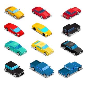 Juego de vehículos de transporte isométrico - pick-up, offroad car, sportcar, luxury.