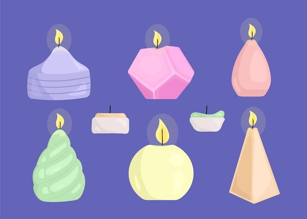Juego de velas perfumadas dibujadas a mano