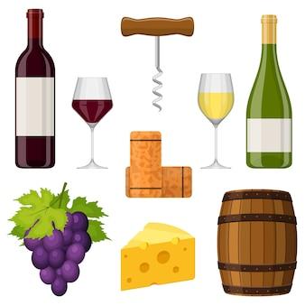 Juego de vino. botella de vino, copa de vino, queso, sacacorchos, corcho, uva y barrica.