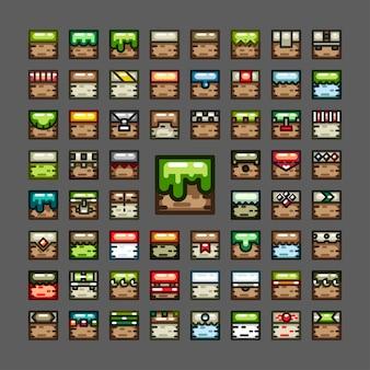 Juegos de baldosas de línea gruesa para videojuegos.