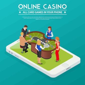 Juegos de cartas de casino en línea desde la composición isométrica de teléfonos inteligentes o tabletas con jugadores en la pantalla del dispositivo