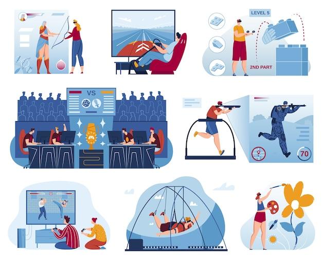 Juegos de computadora, conjunto de ilustración de vector de deporte cibernético, torneo de deportes de juego profesional plano de dibujos animados, jugador campeón