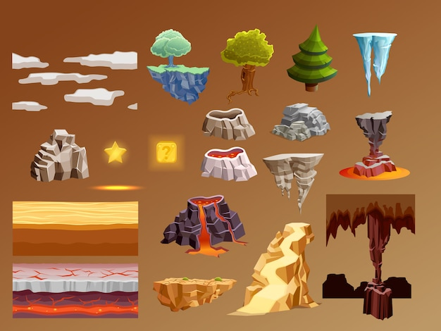 Juegos de computadora de dibujos animados elementos 3d set