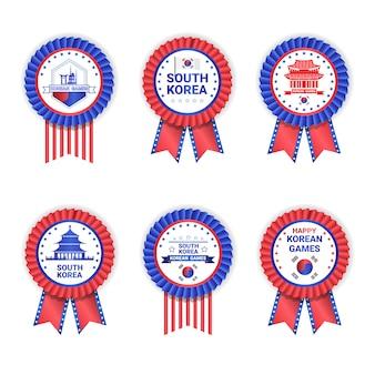 Juegos de corea del sur medallas conjunto de plantillas aisladas en blanco