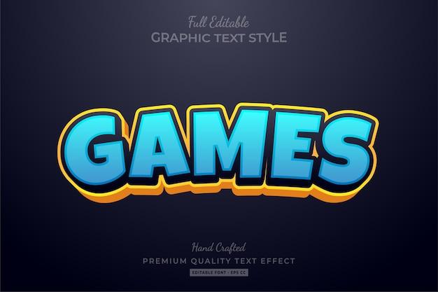 Juegos dibujos animados editable premium text style effect