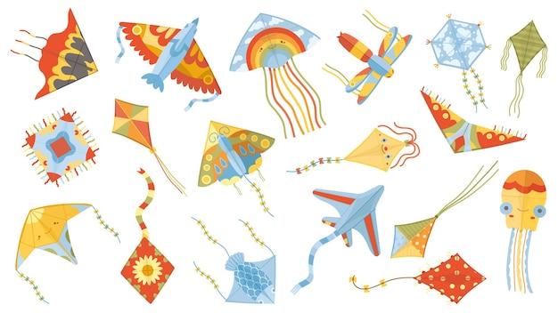 Juegos de dibujos animados para niños, juguetes de cometas voladoras de papel. actividad al aire libre de verano, festival de cometas volando cometas conjunto de ilustraciones vectoriales. juguetes de cometa de papel para niños