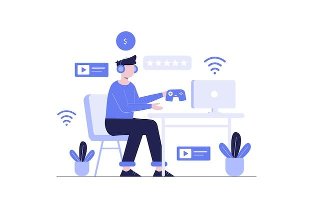 Juegos con diseño de ilustración plana de red