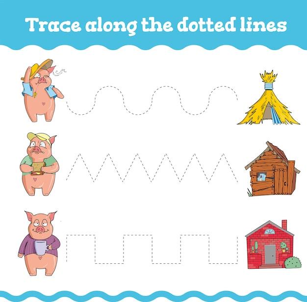 Juegos educativos con tres cerditos. hoja de trabajo de preescolar o jardín de infantes.