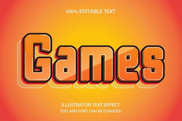 Juegos, efecto de texto editable en 3d estilo cómico moderno