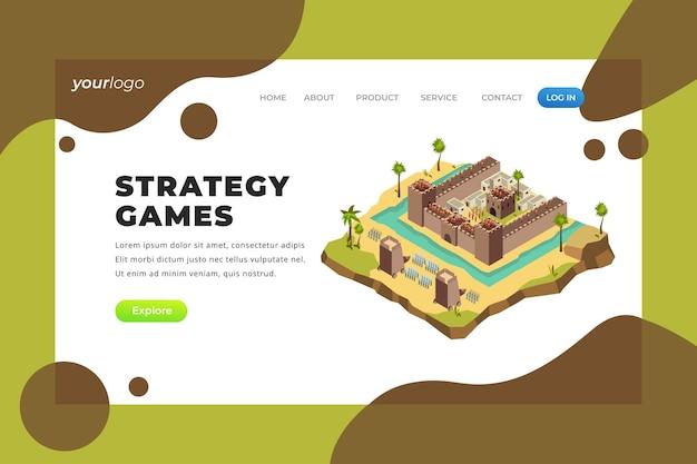 Juegos de estrategia: página de destino vectorial