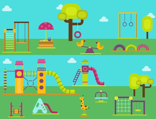 Juegos infantiles jardín de infantes diversión infancia juego parque actividad lugar recreación columpio equipo juguete vector ilustración