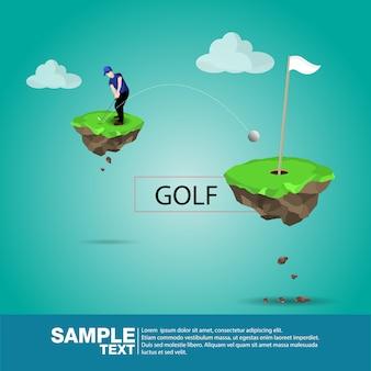 Juegos isométricos en 3d del deporte del jugador de golf del deporte. 3d golfista isométrico plano del atleta. ilustración del vector colección del golfista