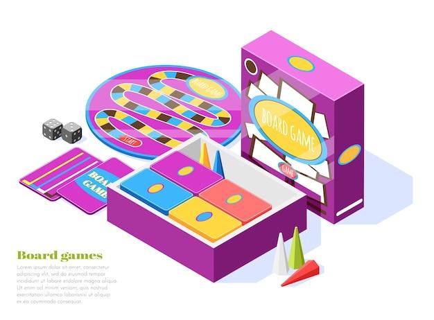 Los juegos de mesa establecen una composición isométrica con elementos de juego, herramientas y accesorios.