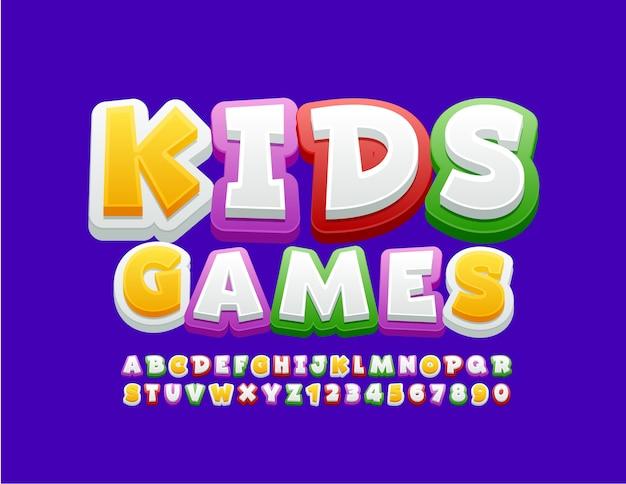 Juegos de niños logo brillante. fuente colorida juguetona. números y letras del alfabeto divertido