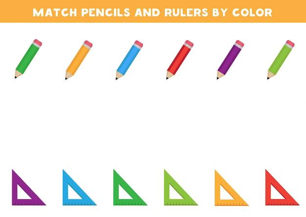 Juegos para niños. une lápices y reglas por colores.