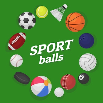 Juegos de pelota. equipo deportivo colección pelotas fútbol hockey béisbol baloncesto billar bandera colorida caricatura
