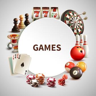 Juegos realista marco redondo