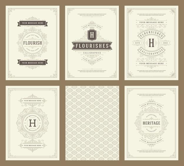 Los juegos de tarjetas de felicitación de adorno vintage florecen marcos y patrones ornamentales