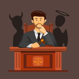 Juez ley confundiendo la toma de decisiones con el concepto de silueta diablo y ángel en la ilustración de dibujos animados