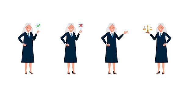 Juez personaje de mujer. presentación en varias acciones.