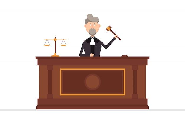 Juez personaje en la sala del tribunal con martillo en su mano izquierda ilustración