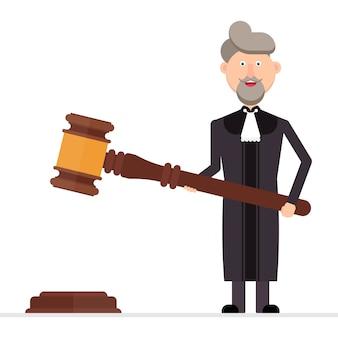 Juez personaje sosteniendo un martillo en sus manos ilustración