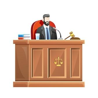 Juez sentado detrás del escritorio de la corte en el juzgado